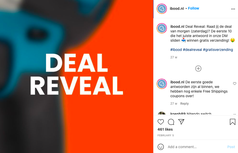 Deal Reveal on Instagram