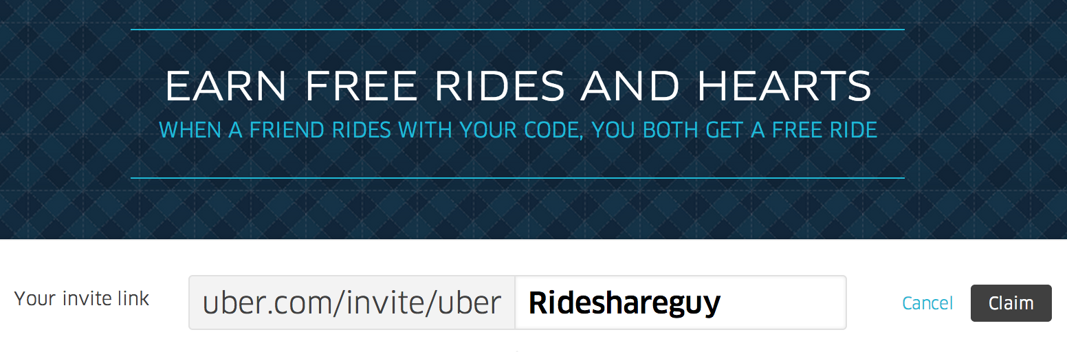 Example of a personalized code from uber