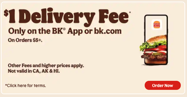Burger King discount for app orders