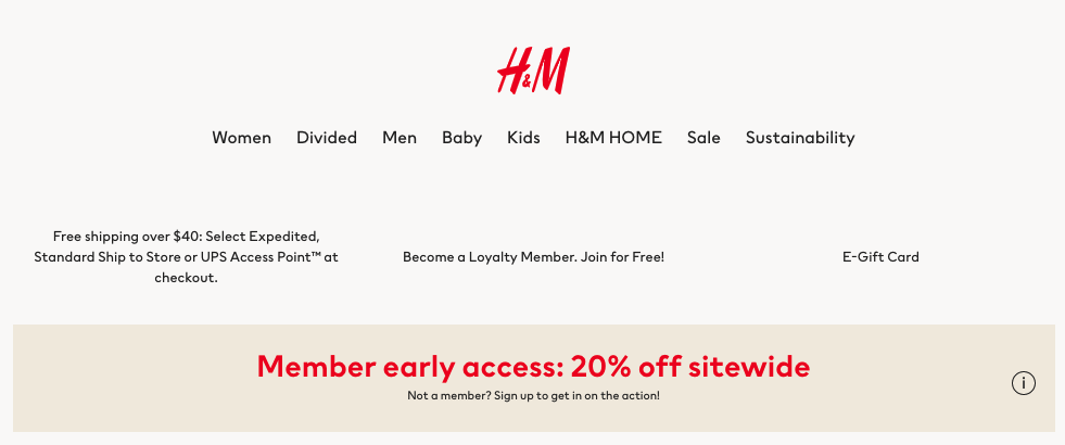 H&M automatic discount for loyalty members only