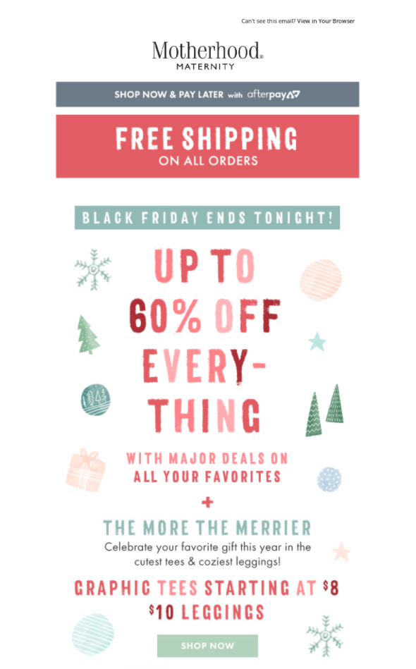 Black Friday offer from Destination Maternity