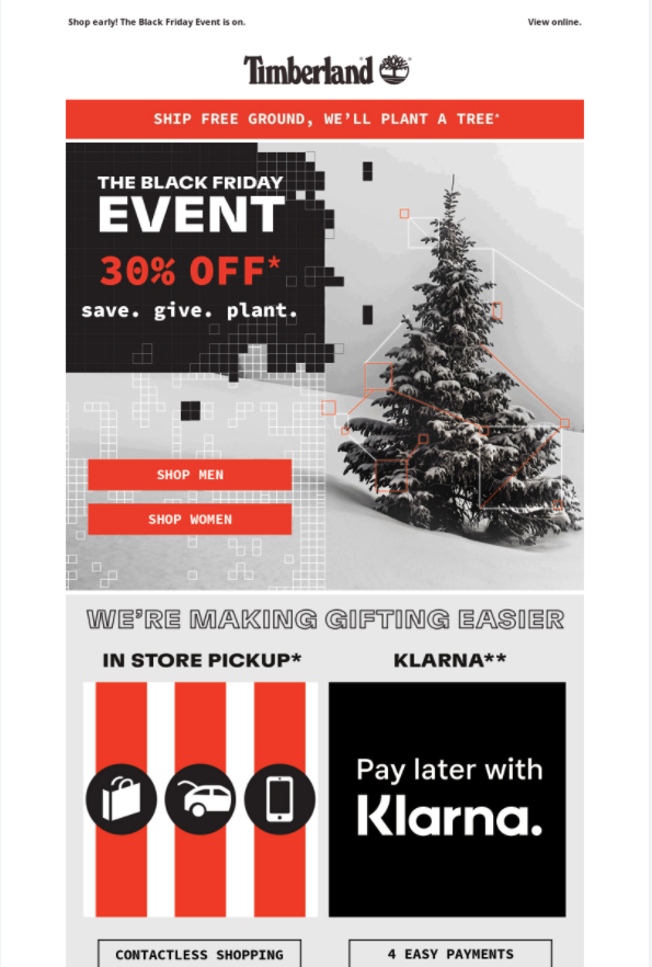Timberland Black Friday discount email