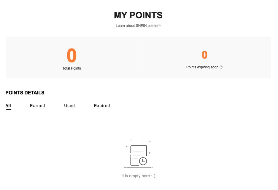Shein customer portal 4 loyalty points