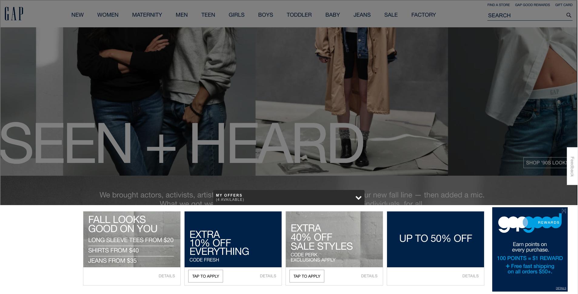 Gap website