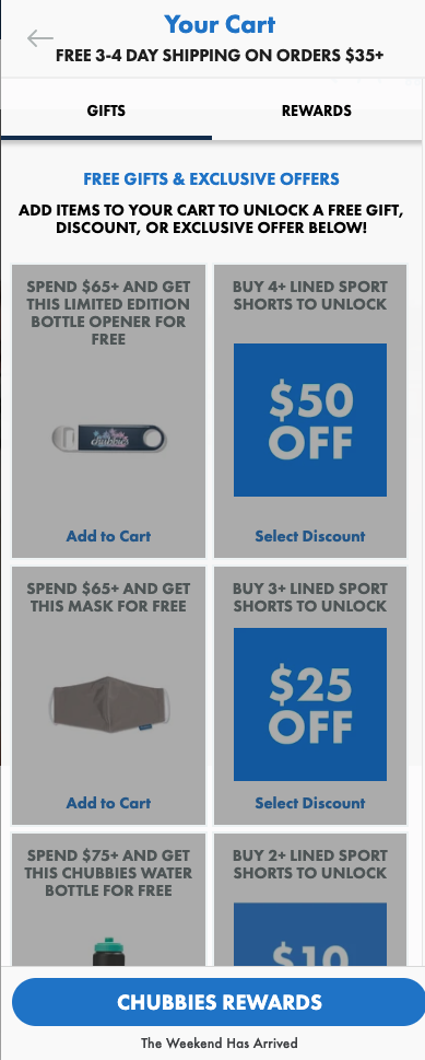 Chubbies side tab with offers