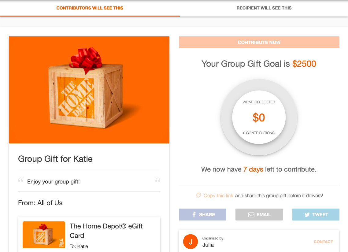 HomeDepot group gifting
