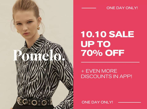 Pomelo marketing example with site-wide discount