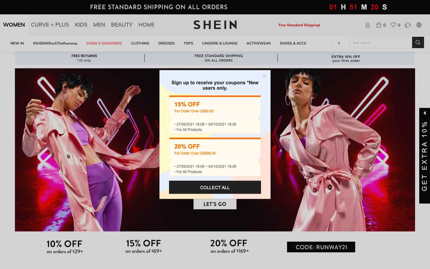 Shein main page with multiple discounts showing the prevalence of promotion marketing