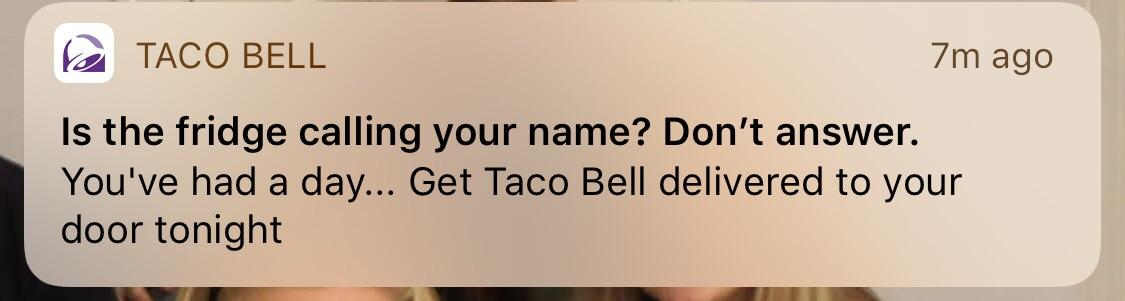 Tacobell push notification