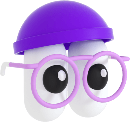 An illustration of a character wearing pink glasses and a purple beanie