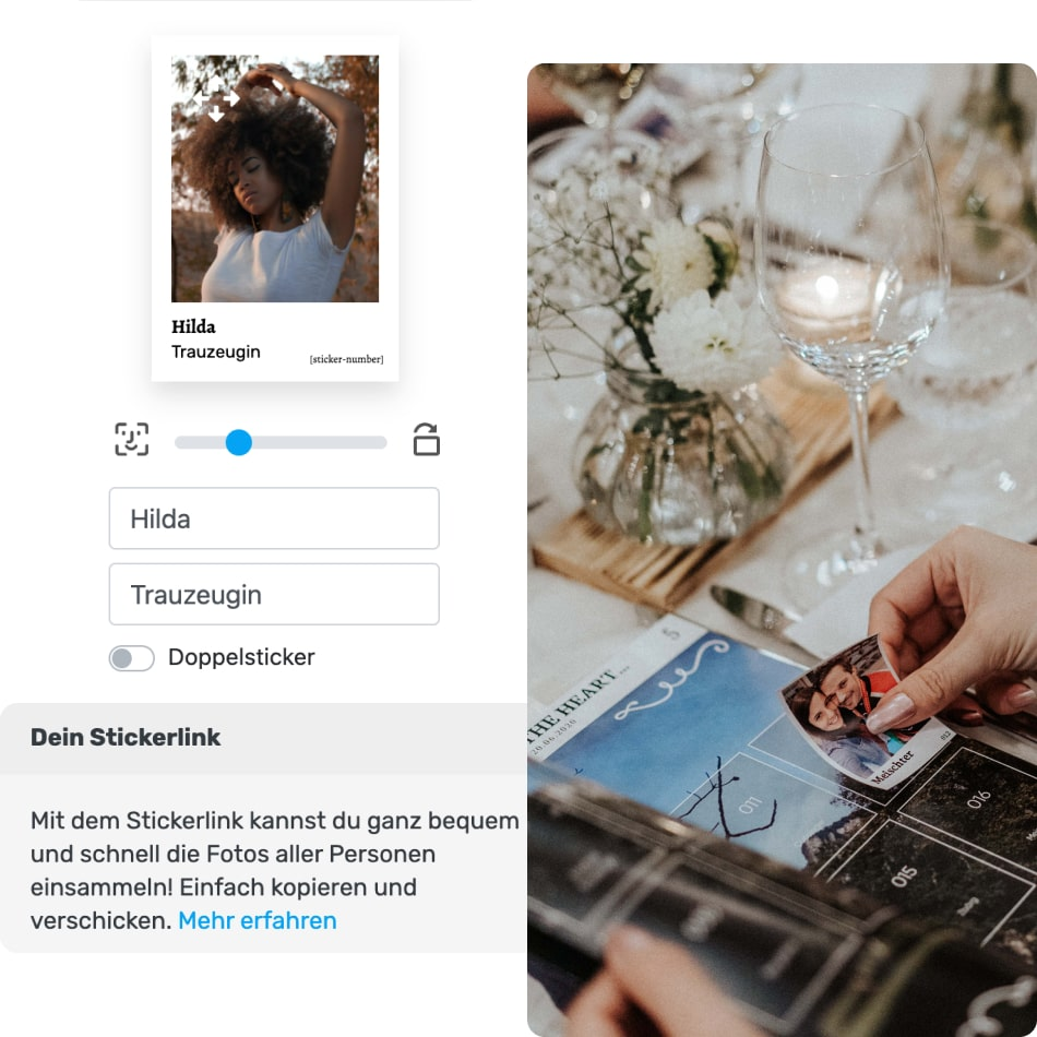 Stickerlink und die Stickerausrichtung im Designer, Hochzeitsgast klebt einen Sticker in ihr Stickeralbum
