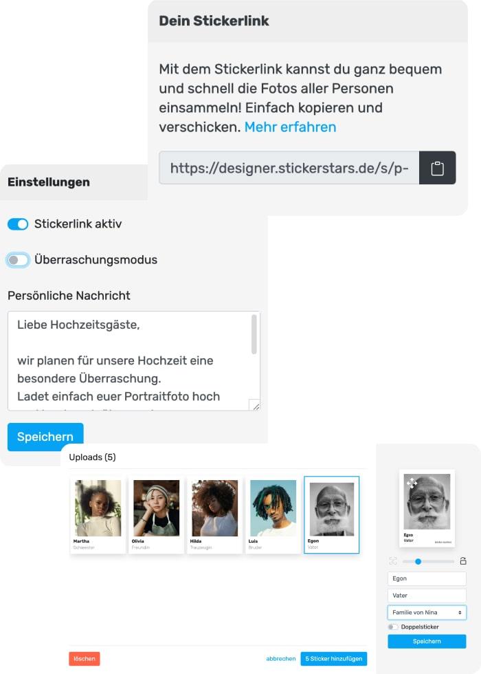 Stickerlink erklärt anhand von Screenhots