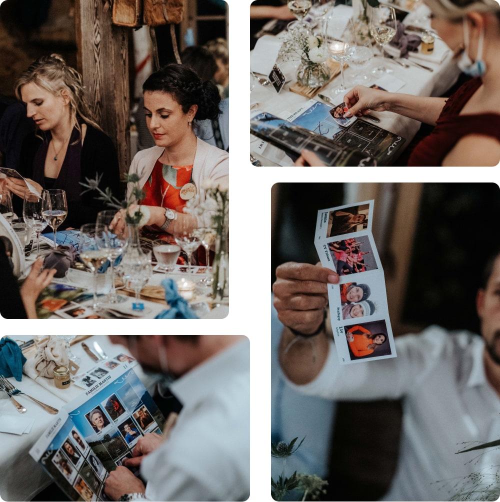 Collage von Hochzeitsgästen und ihren Stickeralben