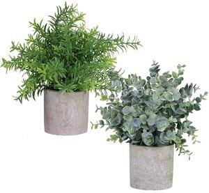 Faux plants for mantle decor