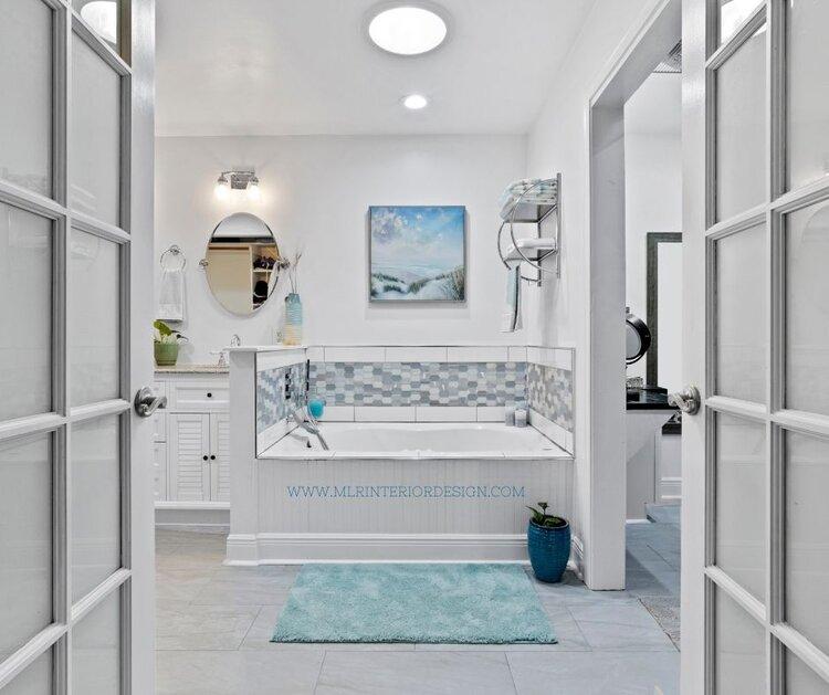 Coastal bathroom remodel | MLR Design Interiors