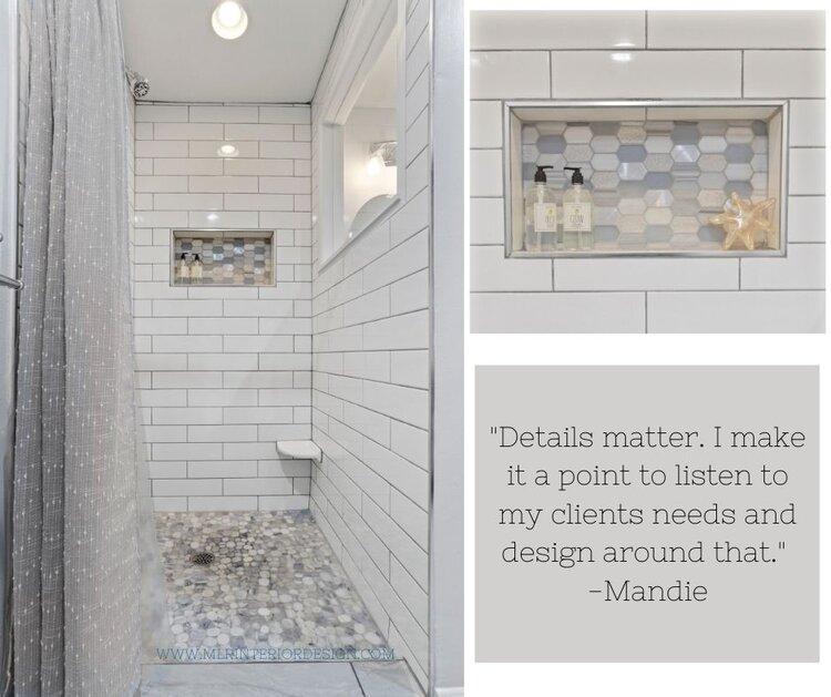 Coastal shower remodel | MLR Design Interiors