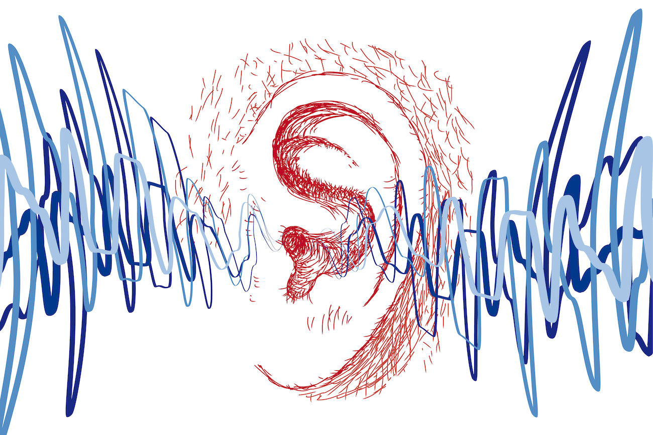 an illustration of sound being filtered into the ear
