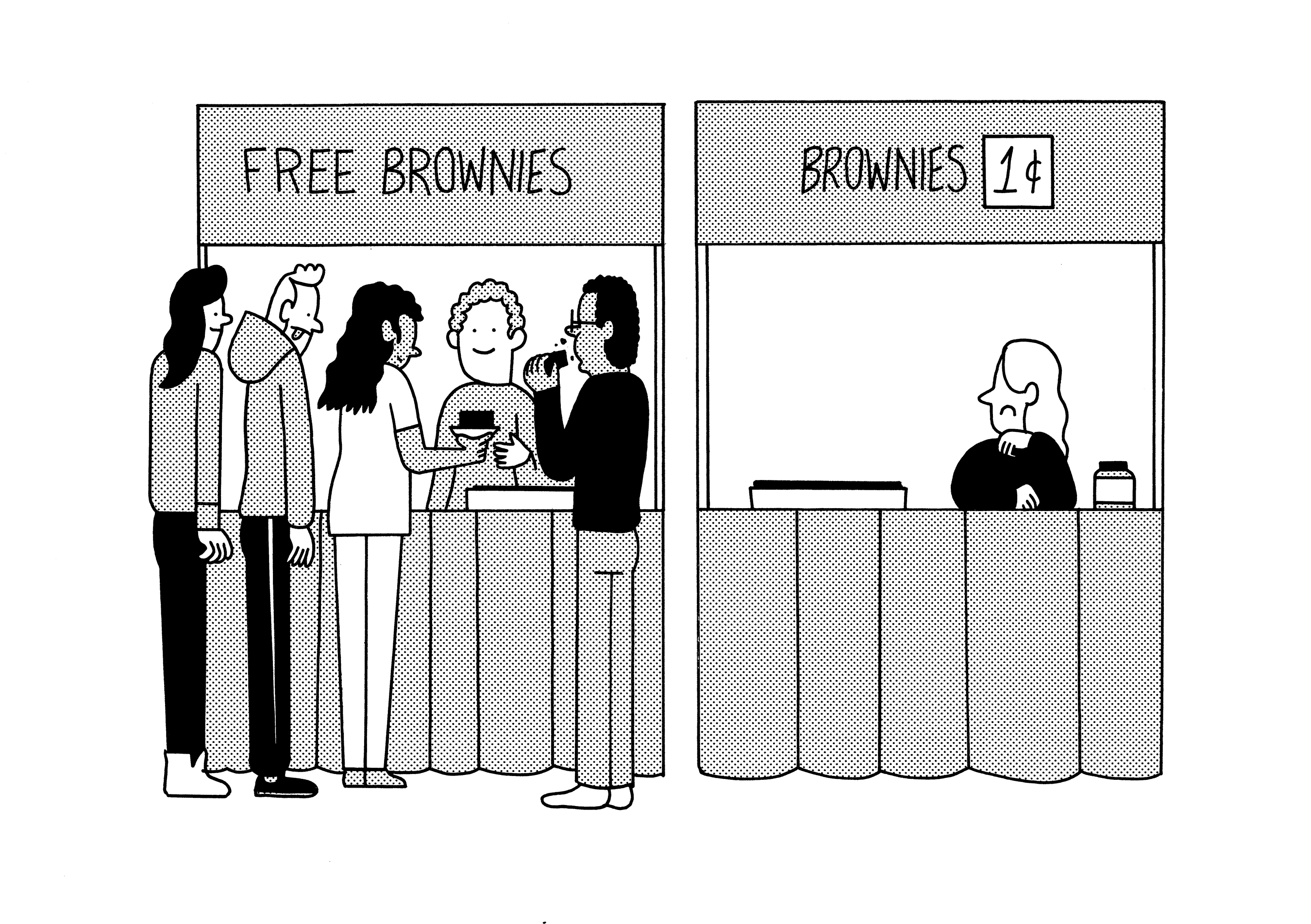 """Illustration with two booths selling brownies. Left """"Free Brownies"""" with people in front, right """"1¢ brownies"""" with no one infront."""