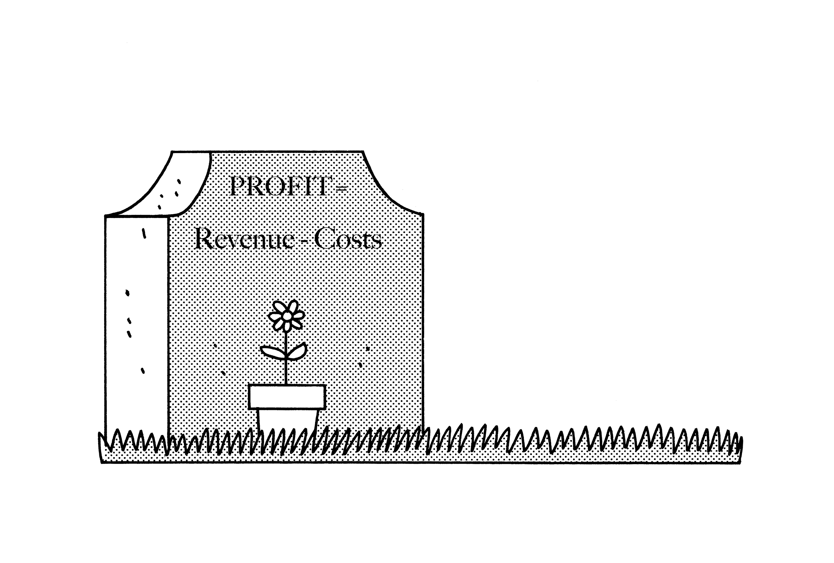 """Illustration with gravestone engraved with """"Profit = Revenue minus costs"""""""""""