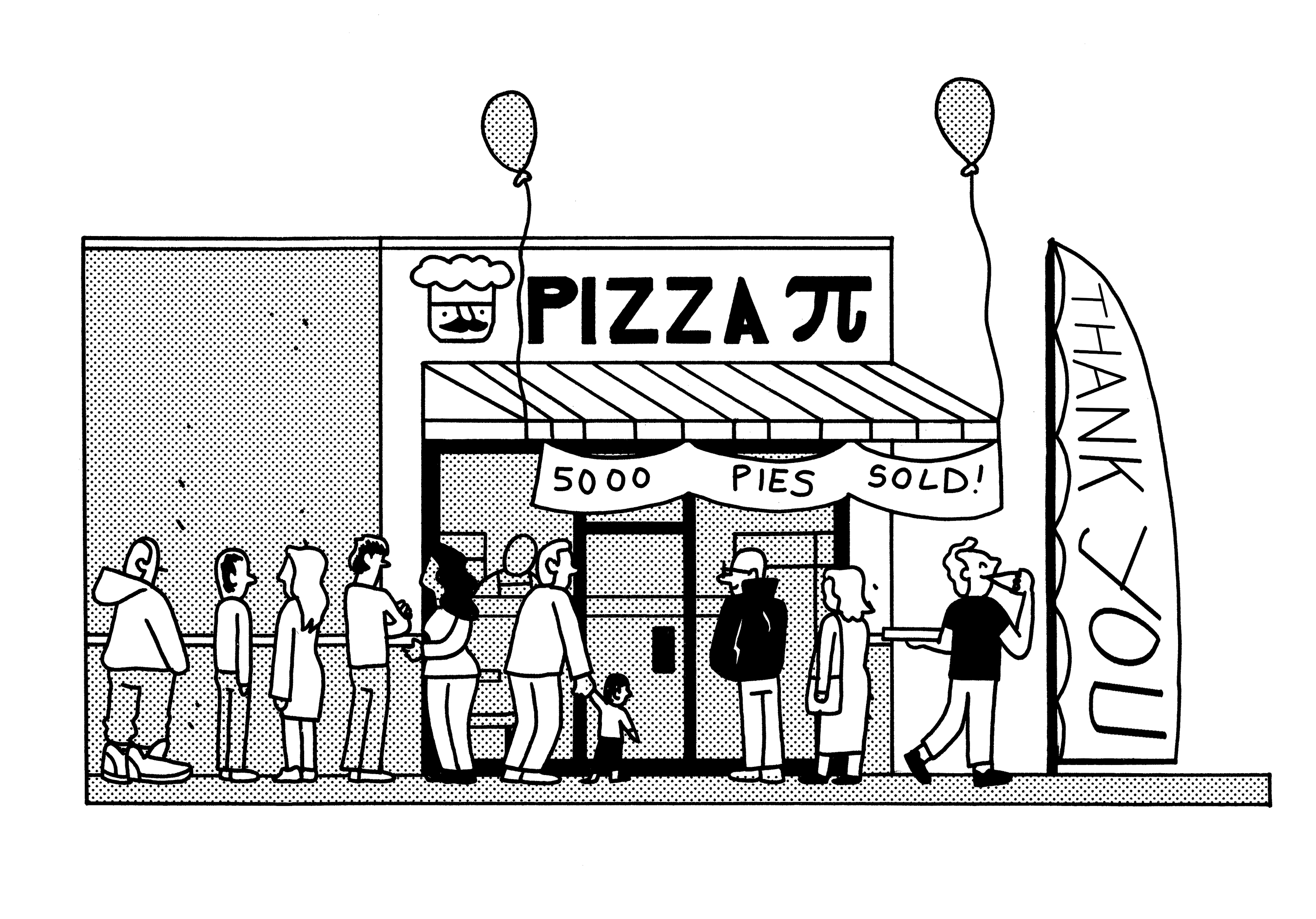 illustration of pizza restaurant with customers lined up in front.
