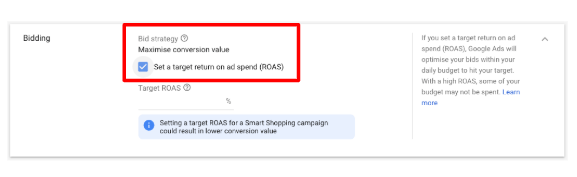 How To Optimise Smart Shopping Campaigns - targets