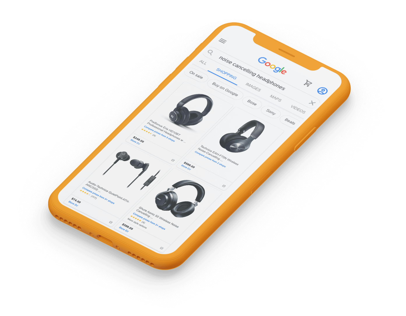 Large image of yellow phone showing google shopping feed of headphones for sale.