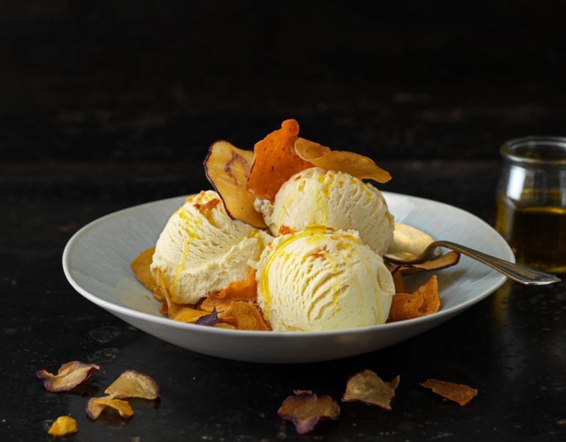 Vanilla Ice Cream with Kumara Chips & Olive Oil
