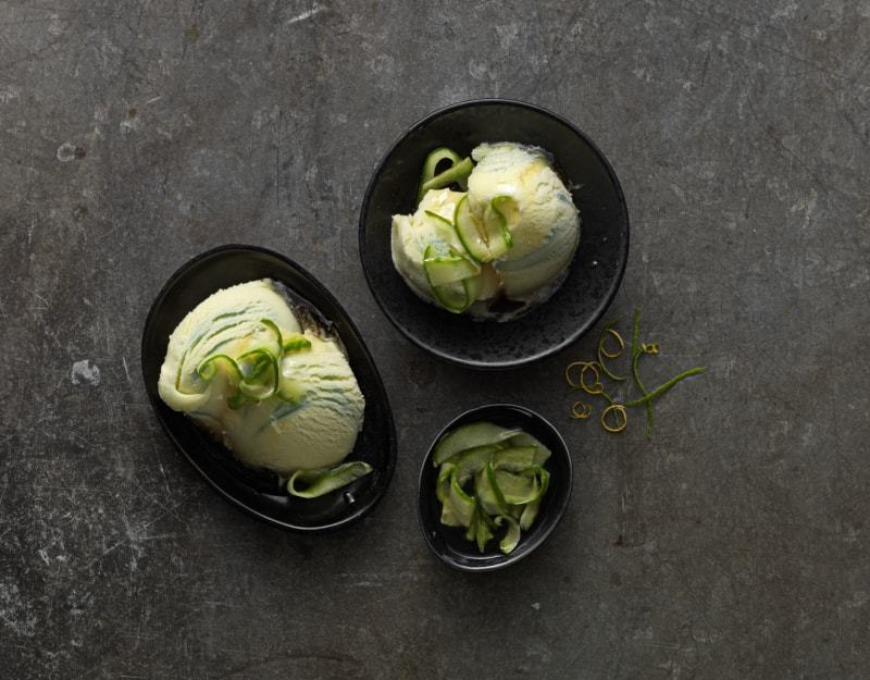 Feijoa & Pear Sorbet with Cucumber, Lemon Lime Syrup