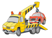 Tow truck towing a car to illustrate towing, roadside assistance, battery & tyre replacement, and fuel delivery services