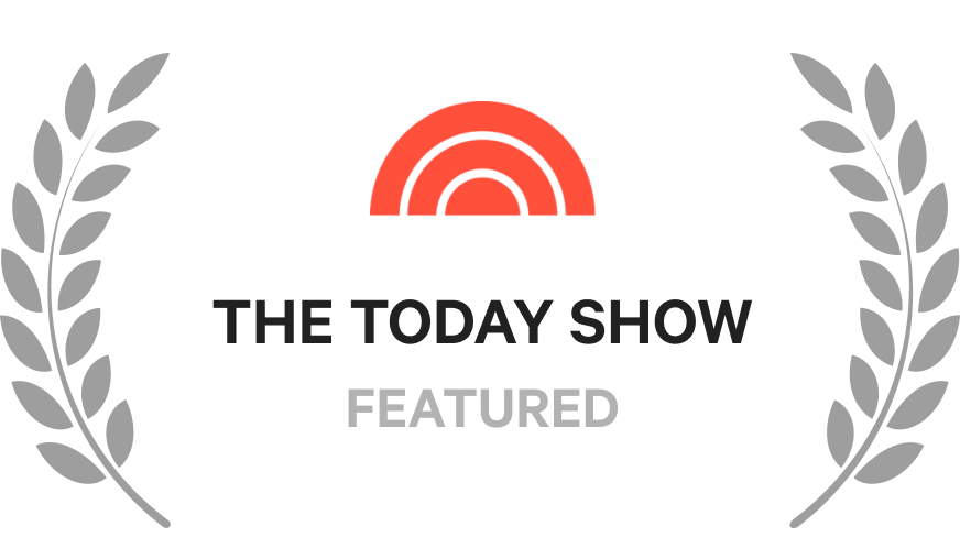 """A badge that says, """"The Today Show, Featured"""""""