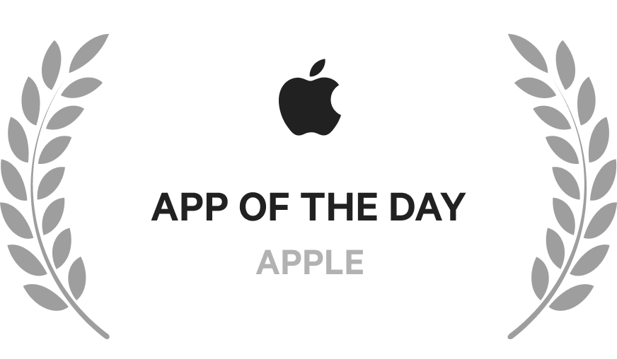 """A badge that says, """"App of the Day, Apple"""""""