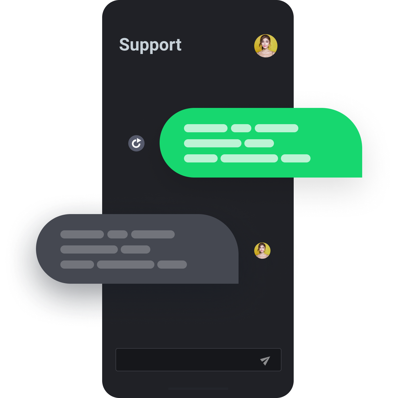 Mobile screen showing incard 24/7 support within app
