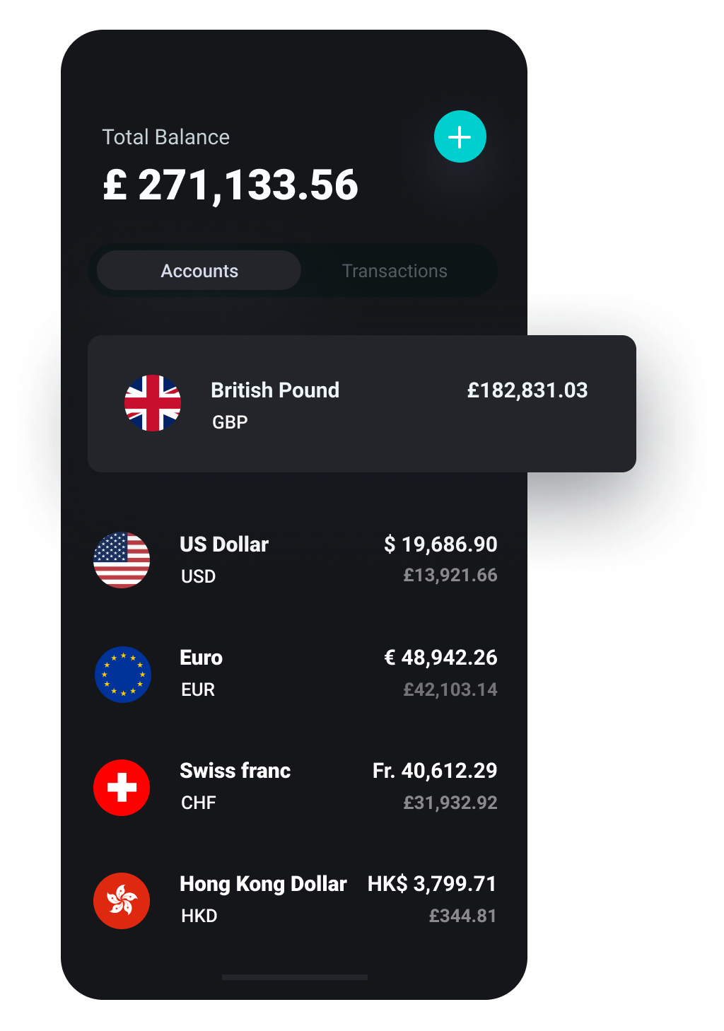 Mobile screen with grey background showing multi-currenty bank accounts and total balance within incard app