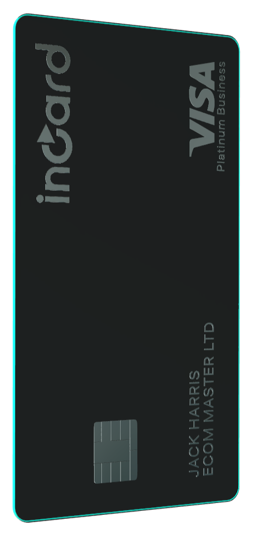 A veritical view of incard Platinium Visa, a business debit card in black
