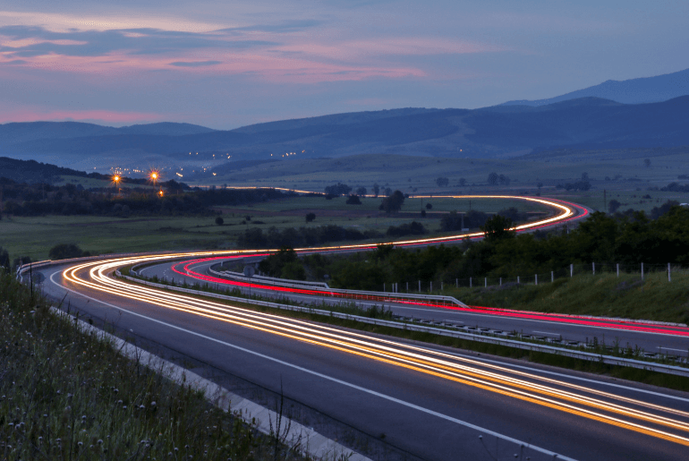 Headlights on the highway