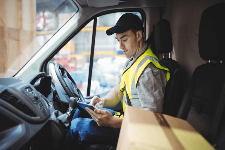 Truck driver checking data