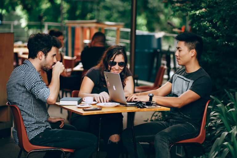 Millennials hanging out in coffee shop