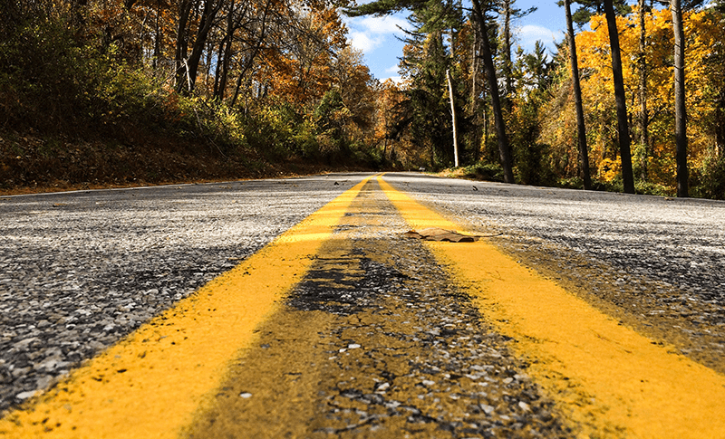 Middle of the road in autumn