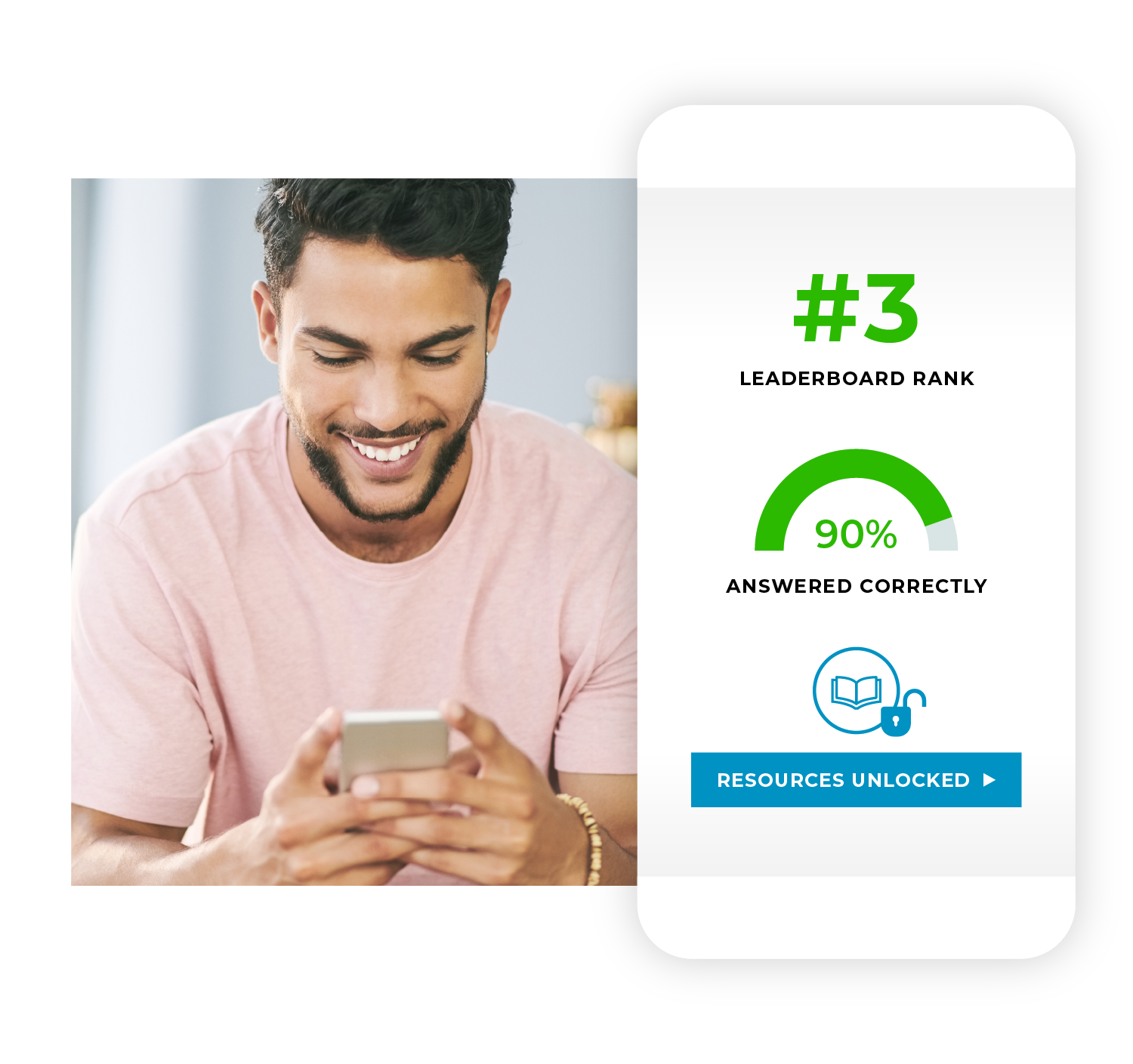 Man on phone with infographic depicting increased employee engagement and satisfaction with learning programs.