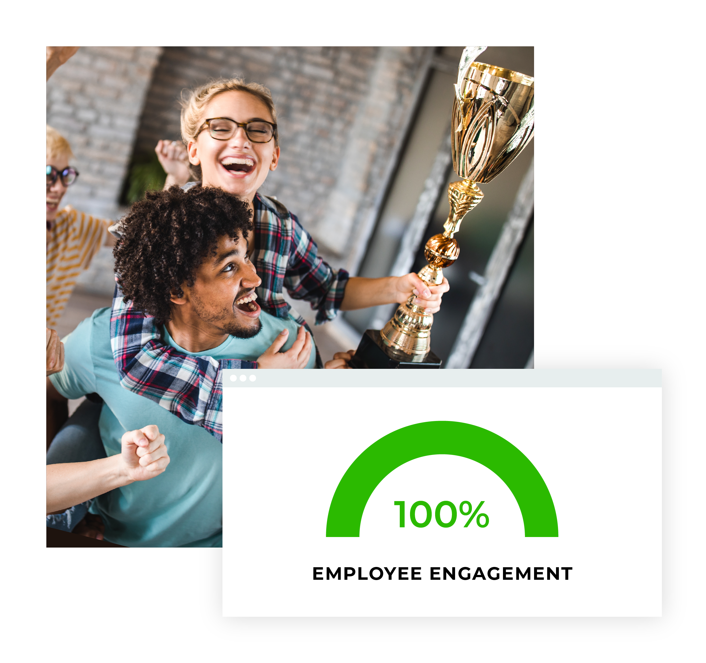 Image of teammates holding trophy and infographic depicting 100% employee engagement.