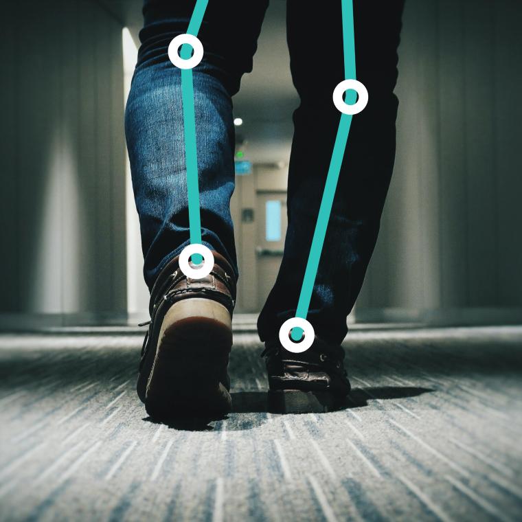 Man walking for gait analysis.