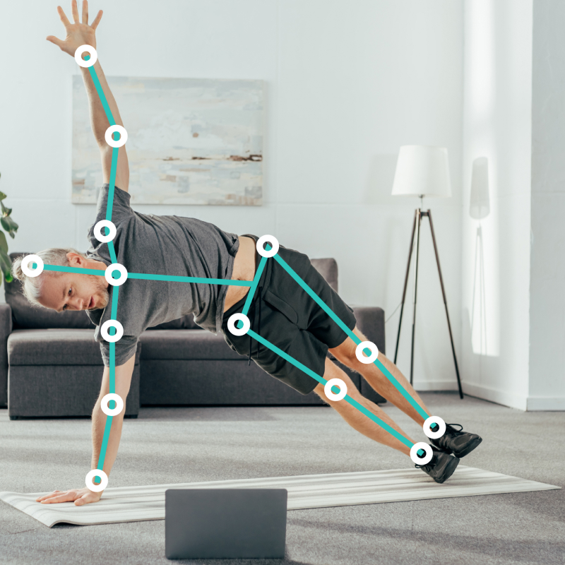 Adult man stretching while doing physical therapy at home, using Exer's Physio mobile app.