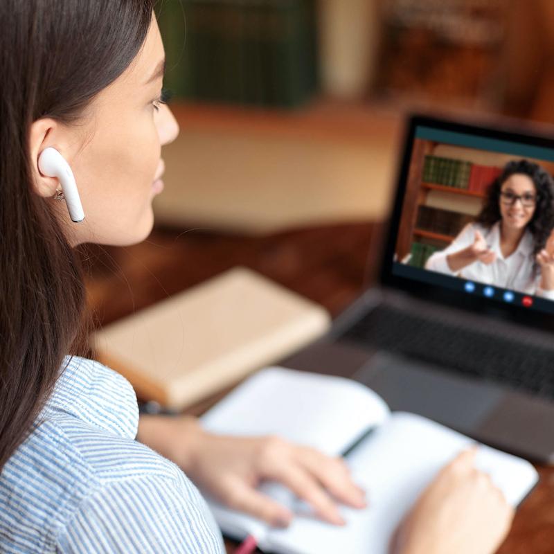 woman talking online video chat