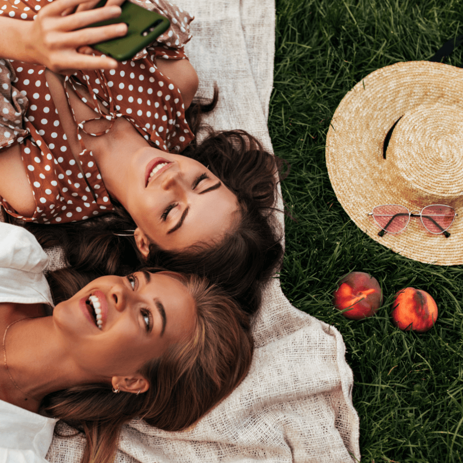 Female friends having fun and laughing together