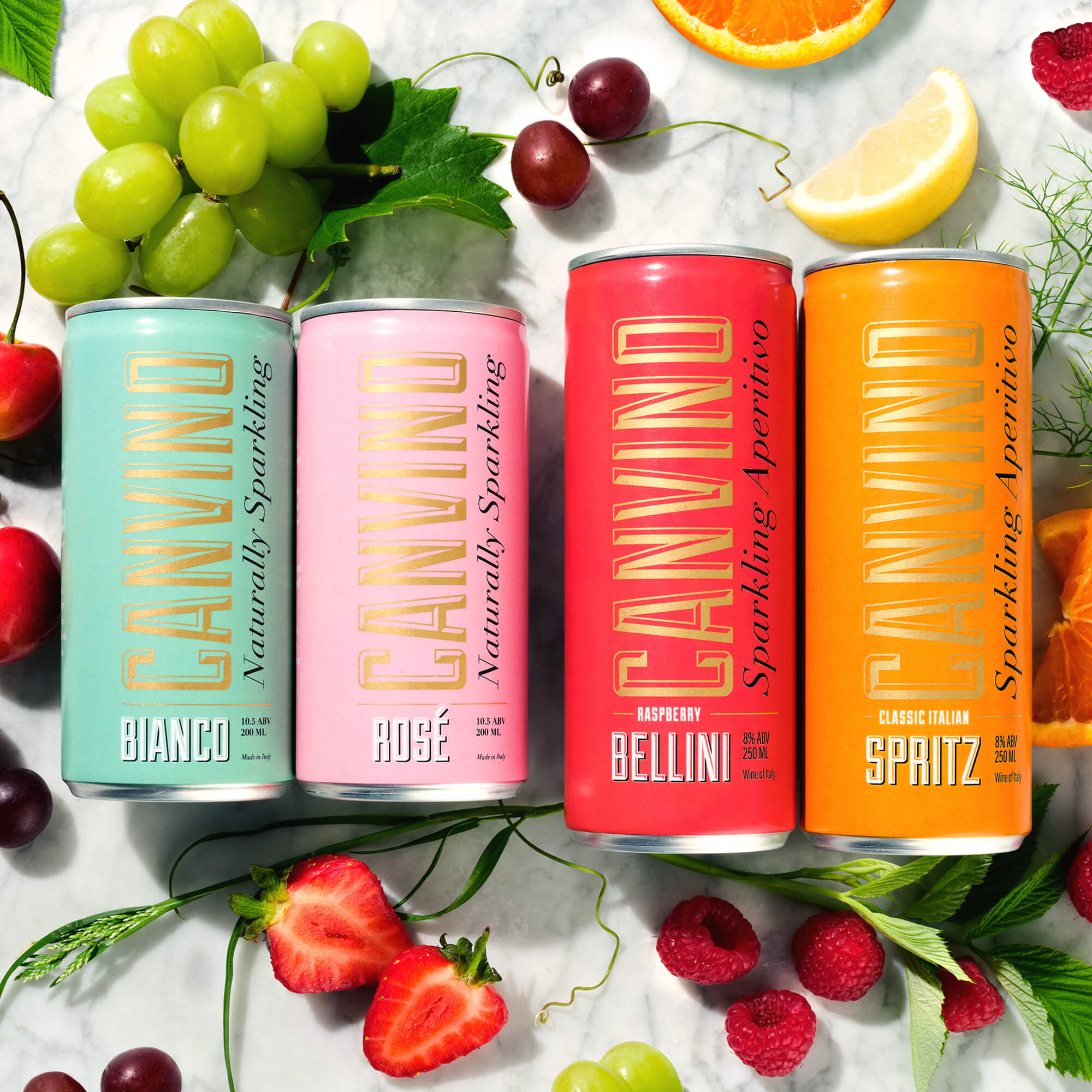Product shot of Canvino Bianco, Rosé, Bellini and Spritz