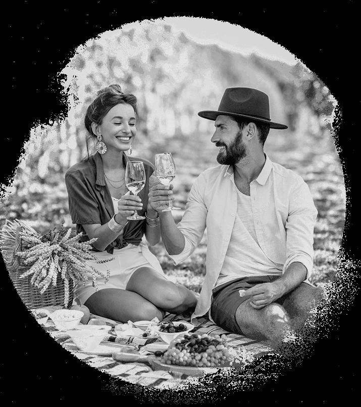 Black & white couple enjoying wine