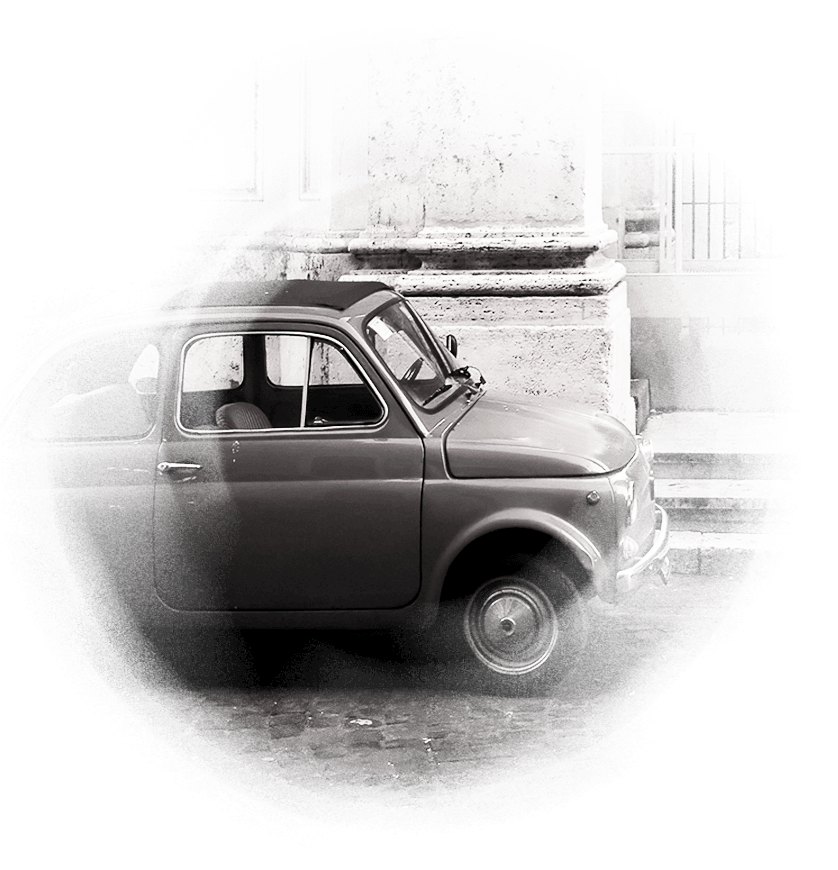 Black & white retro Italian car