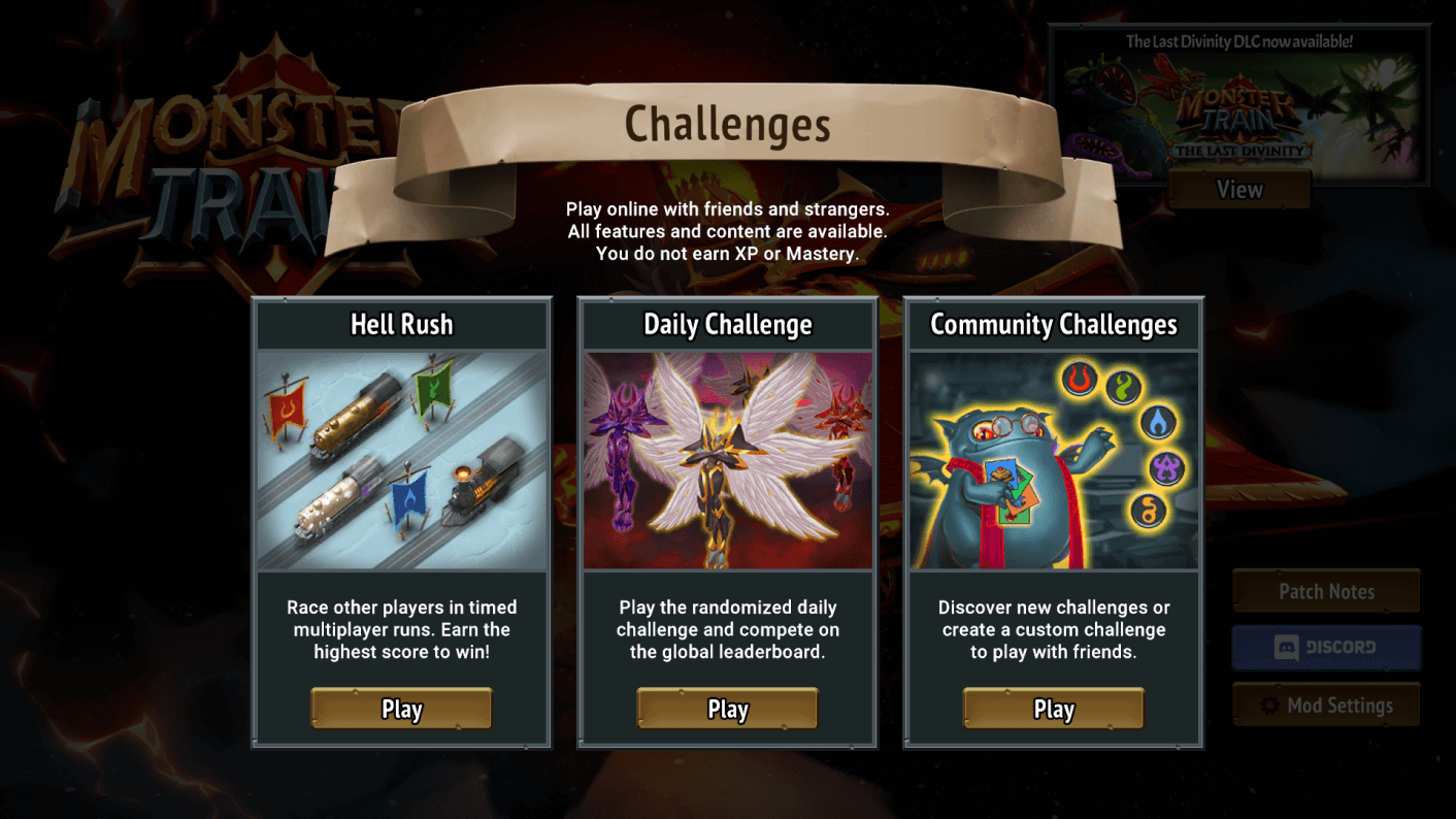 Screenshot of the game showing the three types of challenges