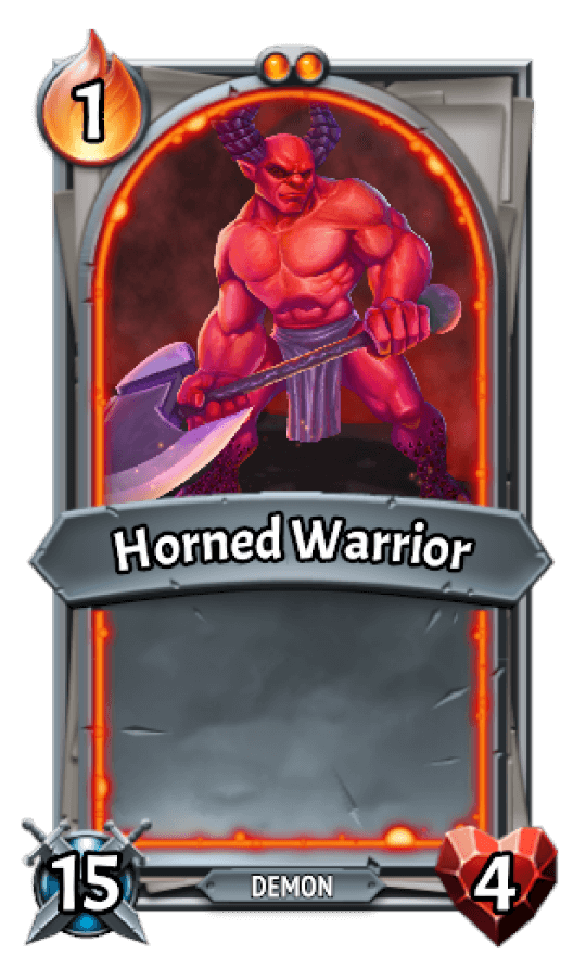 HellHorned clan card with a big red devil holding an axe