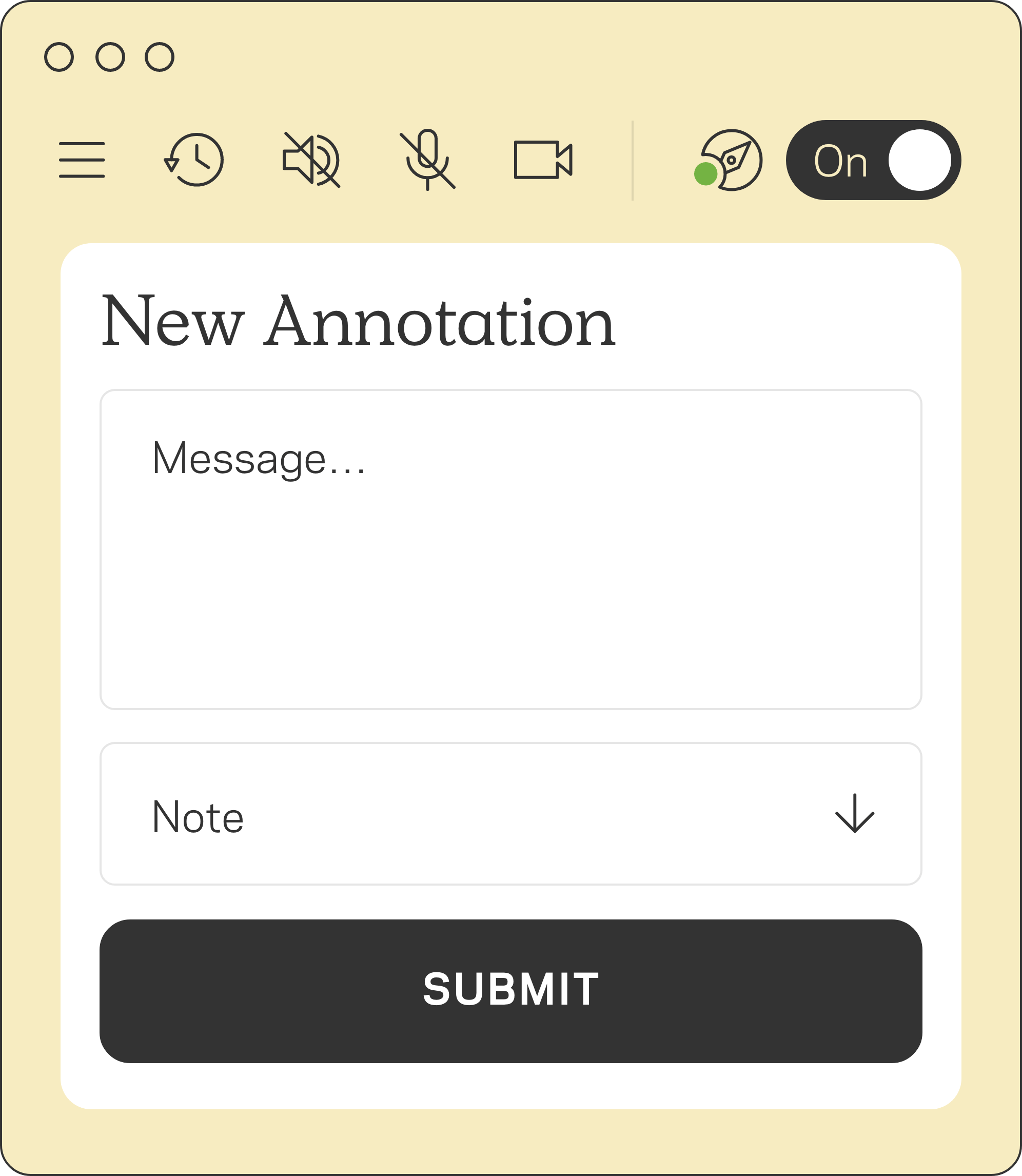 Annotation feature shows how to add and submit a message
